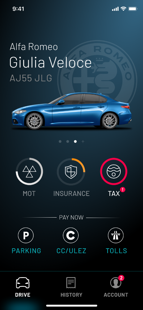 Homescreen (Insurance nearly due)