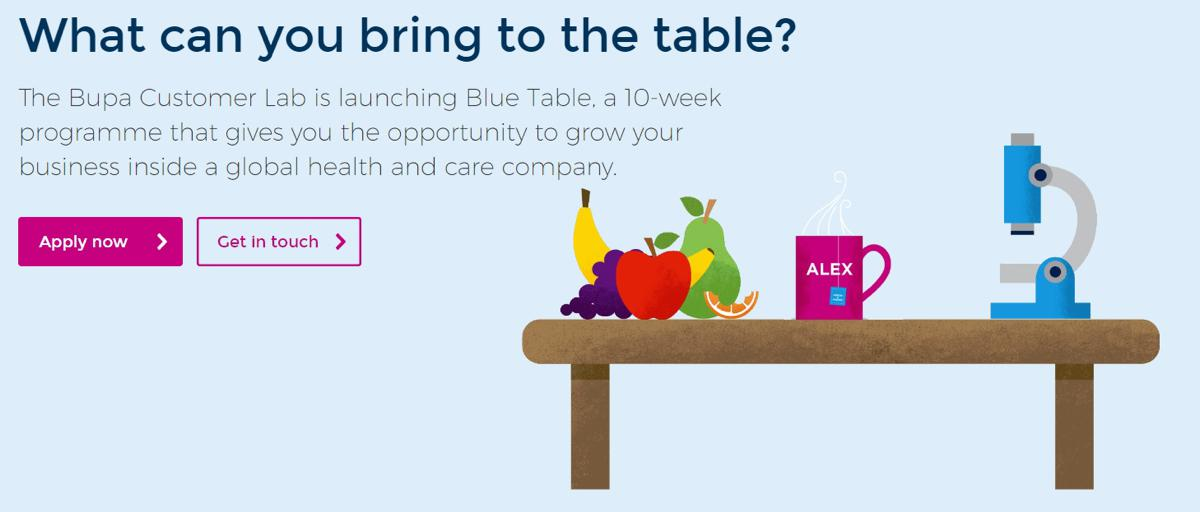 Bupa's Blue Table accelerator seeks innovative solutions to key customer challenges