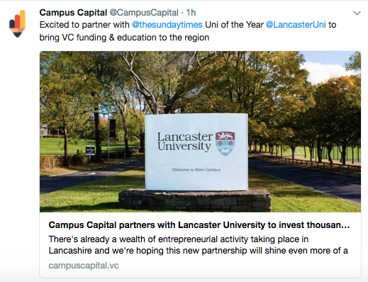 On-campus VC firm Campus Capital partners with Lancaster University