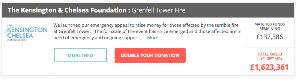 The Big Give Grenfell Tower appeal