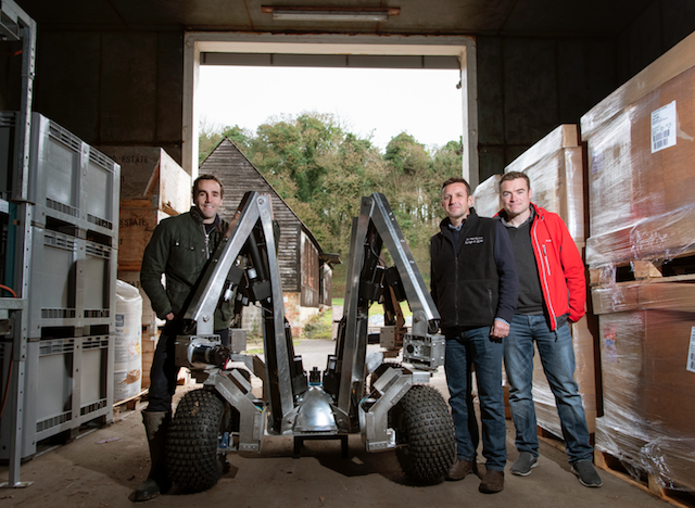 Harry prototype robot together with Sam Watson Jones, co-founder, Small Robot Company Andrew Hoad, Partner & Head of the Leckford Estate, and Joe Allnutt, Head of Robot Awesomeness