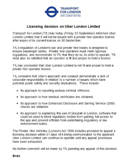 Uber London Ltd licensing