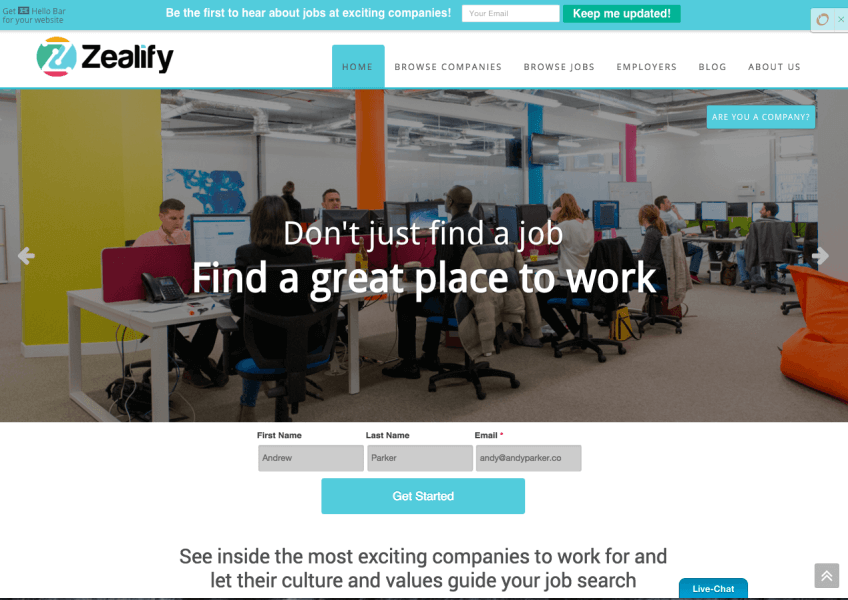 Zealify Startup Career Discovery