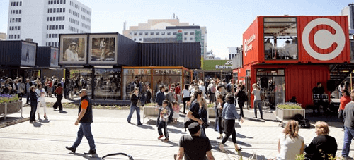 shopping centre made of shipping containers